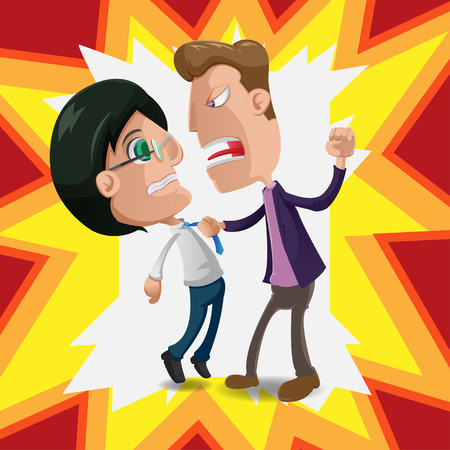 harass: Two Man Intimidate Fight Cartoon Vector Illustration