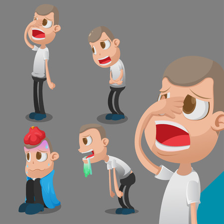 unhappy worker: Man Sick Cartoon Character Action Vector Illustration