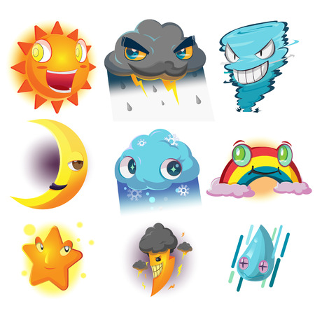 Weather Character Cartoon Emotion Set Vector