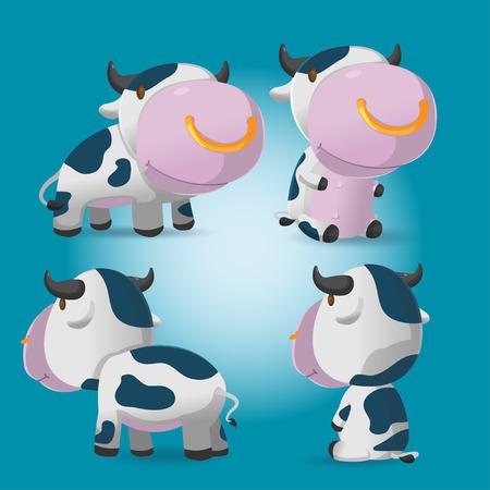 Storyboard: Cow Cartoon Character Pose Set Vector Illustration
