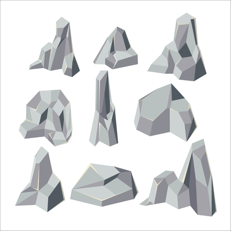 cobble: Stone Cartoon Element Isolate Set Vector