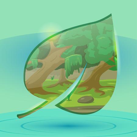 Forest Inside Leaf Over Water Vector Ilustração