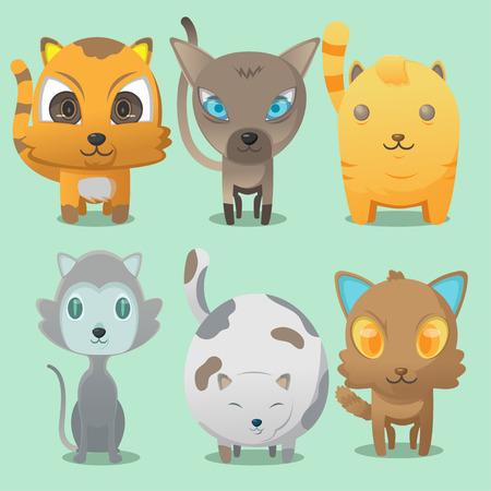 bobtail: Cat Cartoon Cute Collaction Set Vector Illustration