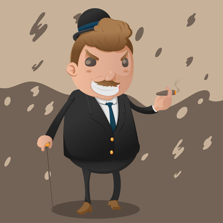 godfather: Mafia Man Character Mascot Godfather Vector Illustration