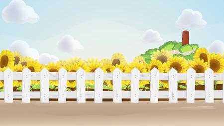 sun flower: Sun Flower Field Cartoon Background Vector Illustration
