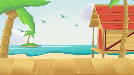 Wood Sea Sky Tropical Background Vector