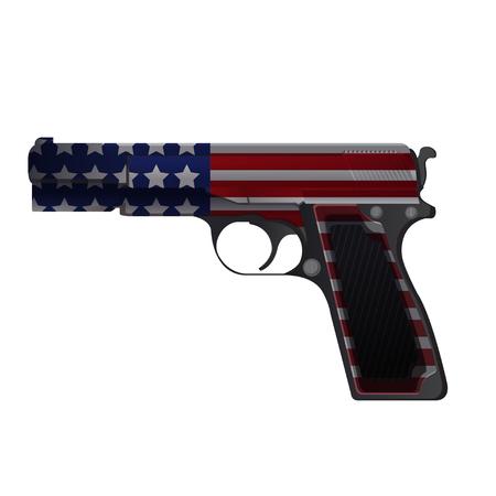 weaponry: America Gun Pistol Crime Isolate Vector