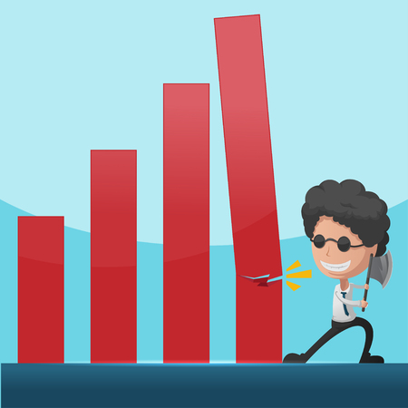 overthrow: Business Man Overthrow Red Graph Vector
