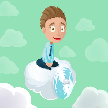 almighty: Man Riding Cloud  Propeller Sky Vector Illustration