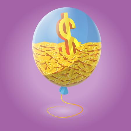 Finance Inside Blue Air Balloon Vector