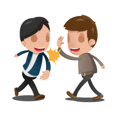 Two Man Couple Celebrating Hand Vector