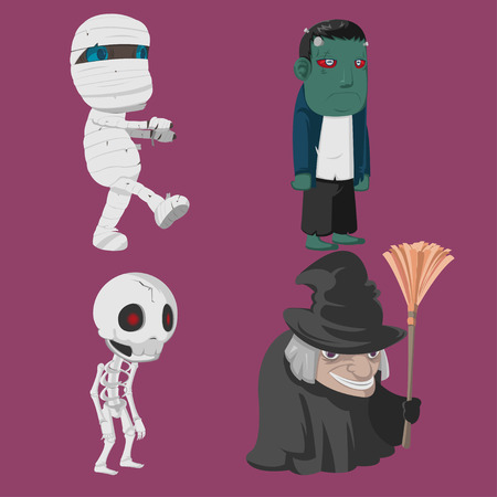 Halloween Characters Cartoon Collection Set