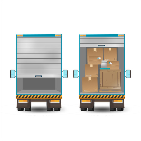 delivery truck: Delivery Truck Back View Transport