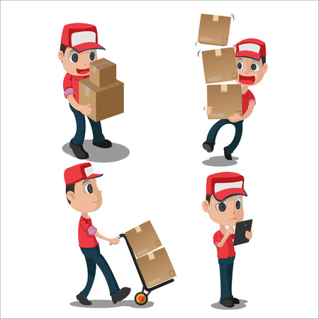 Man Character Delivery Red Uniform