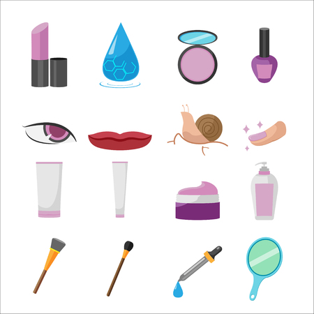 Cosmetic Beauty Flat Icon Set Illustration
