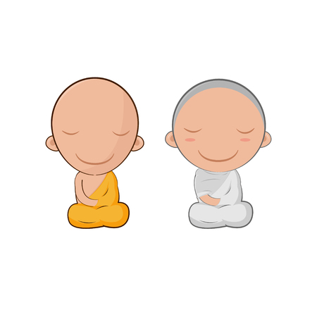 introspection: Asia Cute Monk Cartoon Symbol Illustration