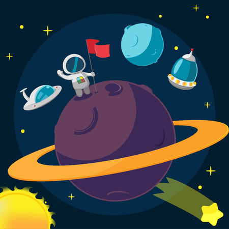 spaceman: Spaceman Planet Success Cartoon Background