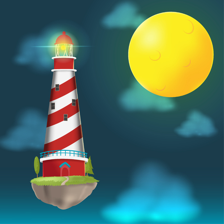 lighthouse at night: Lighthouse Float Island Cloud night vector