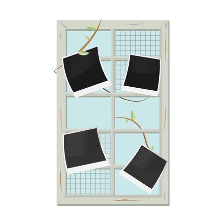 hinge: Vintage Old Window Frame Picture Vector