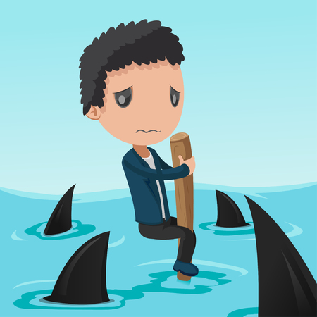 a situation alone: Business Man Afraid Shark Sea Vector