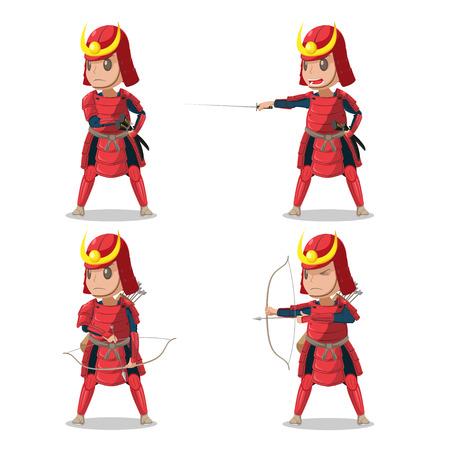 Japan Samurai Red Armor Character Vector Illustration