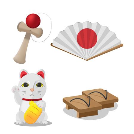 neko: Japan Culture Object Isolate Set Vector