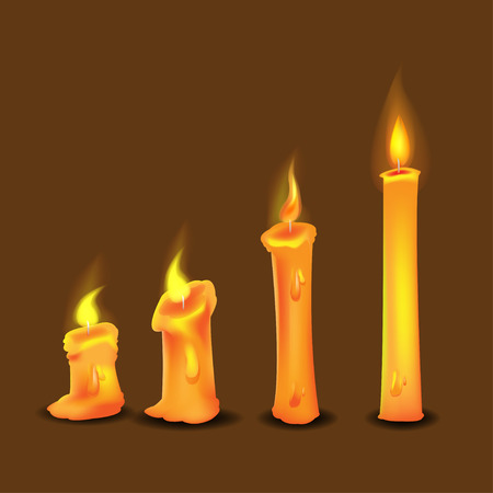Candle Frame Burn Collection Set Vector
