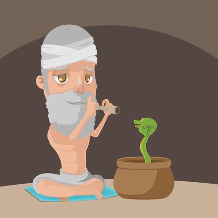 Muslim Play Flute Snake Pot Vector