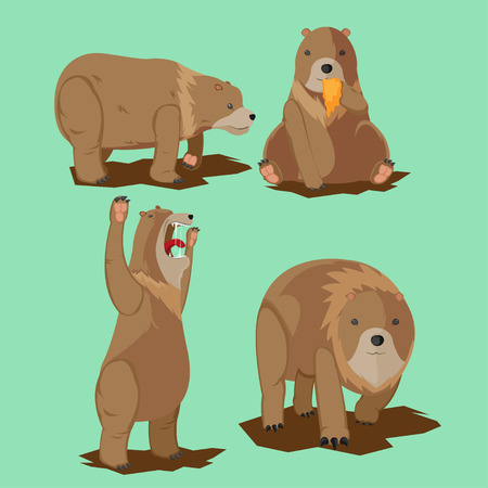 hunny: Bear Wild Character Cartoon Set Vector Illustration