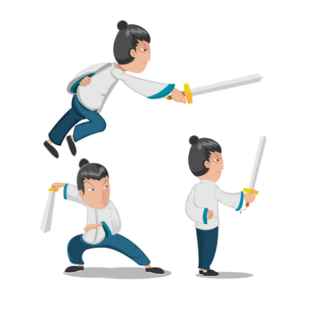 Chinese Hero Young Warrior Character Vector Illustration