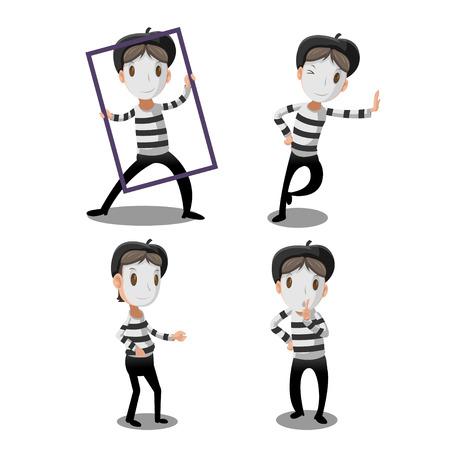 Artista de mímica personaje de dibujos animados divertido del vector