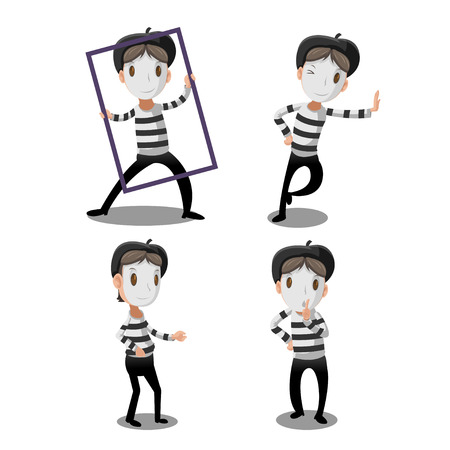 Mime Artist Funny Cartoon Character Vector Stock Vector - 71243141