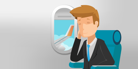 looking through an object: Business Man View Airplane Window Vector Illustration