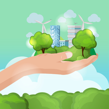 Hand Hold Nature Eco City Vector Illustration