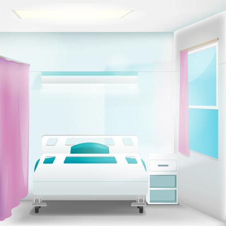 clean room: Hospital Clean Room Empty Interior Vector Illustration