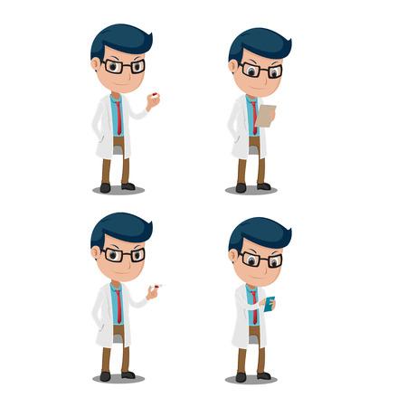 Doctor Cartoon Character Collection Set Vector Vektoros illusztráció