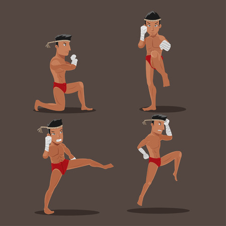 Man Thai Boxing Character Action Set Vector