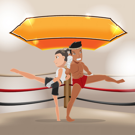 Man Woman Thai Boxing Stage Vector Illustration