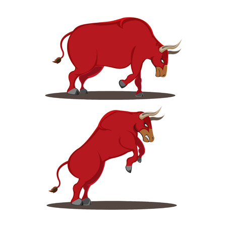 Red Bull Animal Side View Vector Illustration