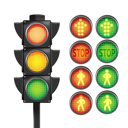 Traffic Light Red Yellow Green Isolate Vector