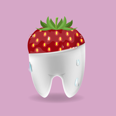 ripened: Strawberry Tooth Mixed Dental Symbol Vector