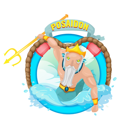 Poseidon Sea God Character illustration Vector
