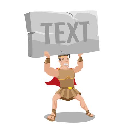 Hero Strong Hold Stone Text Vector Векторная Иллюстрация