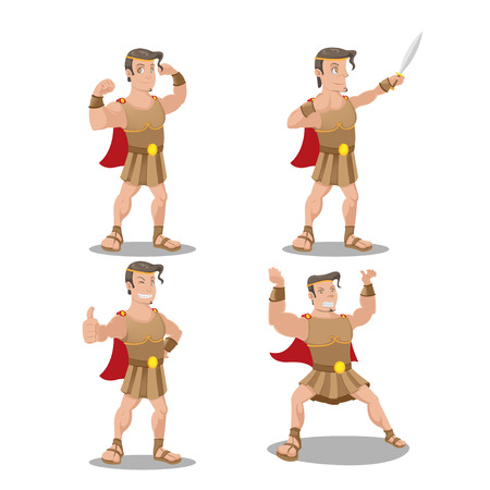 Hercures God Hero Cartoon Character Vector