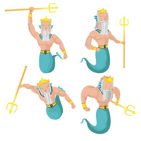 oldman: Poseidon Sea God Character Set Vector Illustration