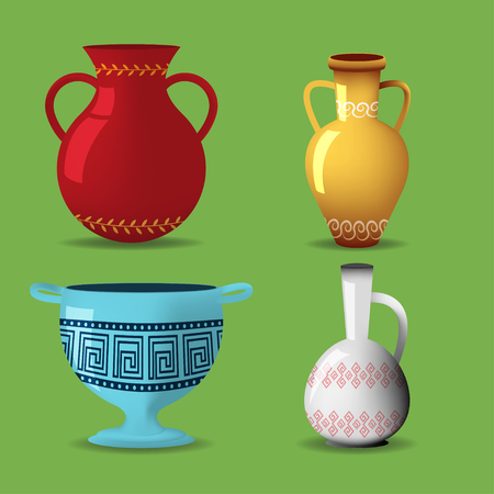 decorative urn: Greek Pot Object Isolate Set Vector
