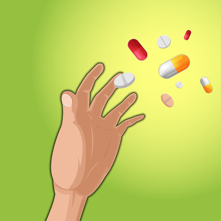 Hand Grab Drug Medicine Capsule Vector Illustration