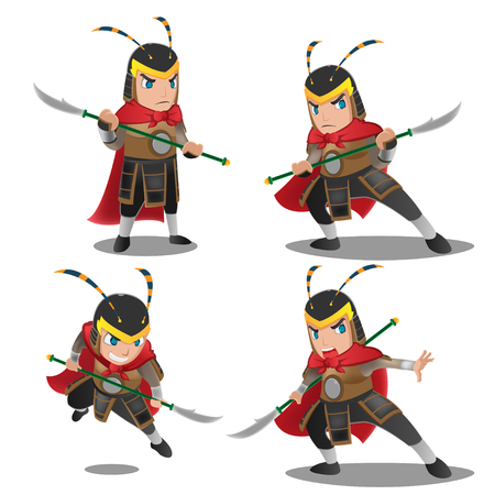 soldiers: China Armor Warrior Character Set Illustration