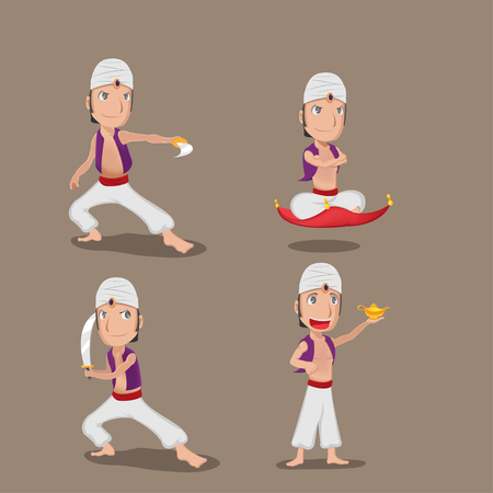 Aladdin Persian Cartoon Character Set Vector Archivio Fotografico - 77604447