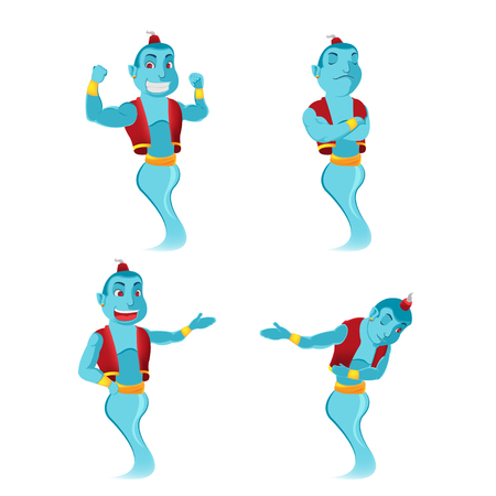 Blue Giant Genie Character Set Vector Illustration